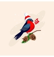 Bullfinch wearing a Hat on Branch with Cones vector image vector image