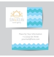 business card with sun and waves logo vector image vector image