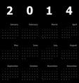 Calendar 2014 on black background vector image