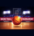 cartoon ad poster banner with basketball vector image