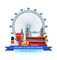 cartoon london sights and objects vector image