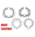 Christmas holly round wreaths vector image vector image