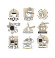 coffee house or cafe isolated icons beans and hot vector image vector image