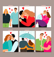 couple in love cards collection vector image vector image