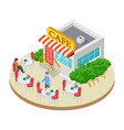 cute summer street small cafe with outside tables vector image vector image