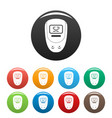 electronic glucometer icons set color vector image vector image