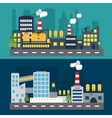 Factory landscape at evening and night vector image