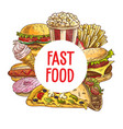 fast food pizza burgers desserts sketch vector image vector image