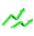 green arrows up growing financial 3d shiny icons vector image vector image