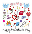 hand drawn doodle valentine elements greeting vector image