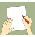 Hand with pen and paper writing color vector image vector image