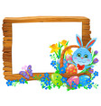 happy easter wooden banner with rabbit in basket vector image