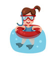 happy girl swimming with inflatable buoy and vector image vector image