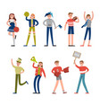 happy sport fans and supporters characters vector image