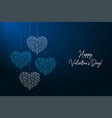 happy valentines day made points and lines vector image vector image