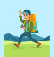happy young guy walking climbing the mountain vector image vector image