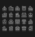 house simple white line icons exterior set vector image