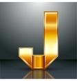 Letter metal gold ribbon - J vector image vector image