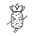 line kawaii cute funny pineapple fruit vector image vector image