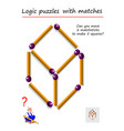 logic puzzle game with matches for children and vector image vector image