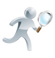magnifying glass silver person vector image