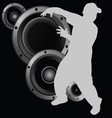 man dancing and speaker vector image
