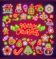 Merry christmas neon icons set