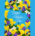 mother day holiday flowers greeting card vector image vector image