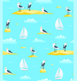 naval sailing sail boat seamless pattern vector image