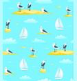 naval sailing sail boat seamless pattern with vector image