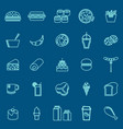 popular food line color icons on blue background vector image vector image