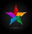 Rainbow Origami Star on black background vector image vector image