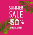 sale banner with palm leaf isolated vector image vector image