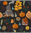 seamless pattern with halloween scary elements vector image