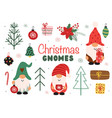 set isolated funny christmas gnomes vector image