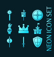 set knights blue glowing neon icons vector image