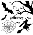 Set of halloween silhouette on white background vector image vector image