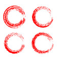 set red ink round brush stroke on white vector image
