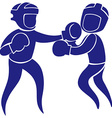 Sport icon for boxing in blue vector image