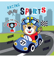 sport racing funny cartoon vector image vector image