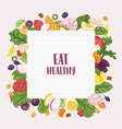 square banner template with eat healthy slogan and vector image