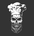 vintage monochrome skull in chef hat vector image