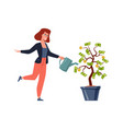woman and money tree rich person vector image vector image