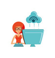 woman with desktop computer and cloud computing vector image vector image