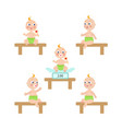 flat baby infant with nipple and diaper set vector image
