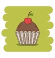Chocolate muffin icon with cherry vector image