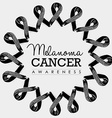 Melanoma cancer awareness ribbon design with text vector image