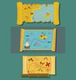 map of treasure banner horizontal set flat style vector image