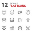 12 baby icons vector image vector image