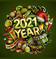 2021 hand drawn doodles new year objects and vector image